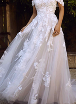 Tulle & Lace Off the Shoulder Appliques Princess Wedding Gown
