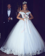 White Lace Appliques Ball Gown Wedding Dress With Off The Shoulder Sleeves