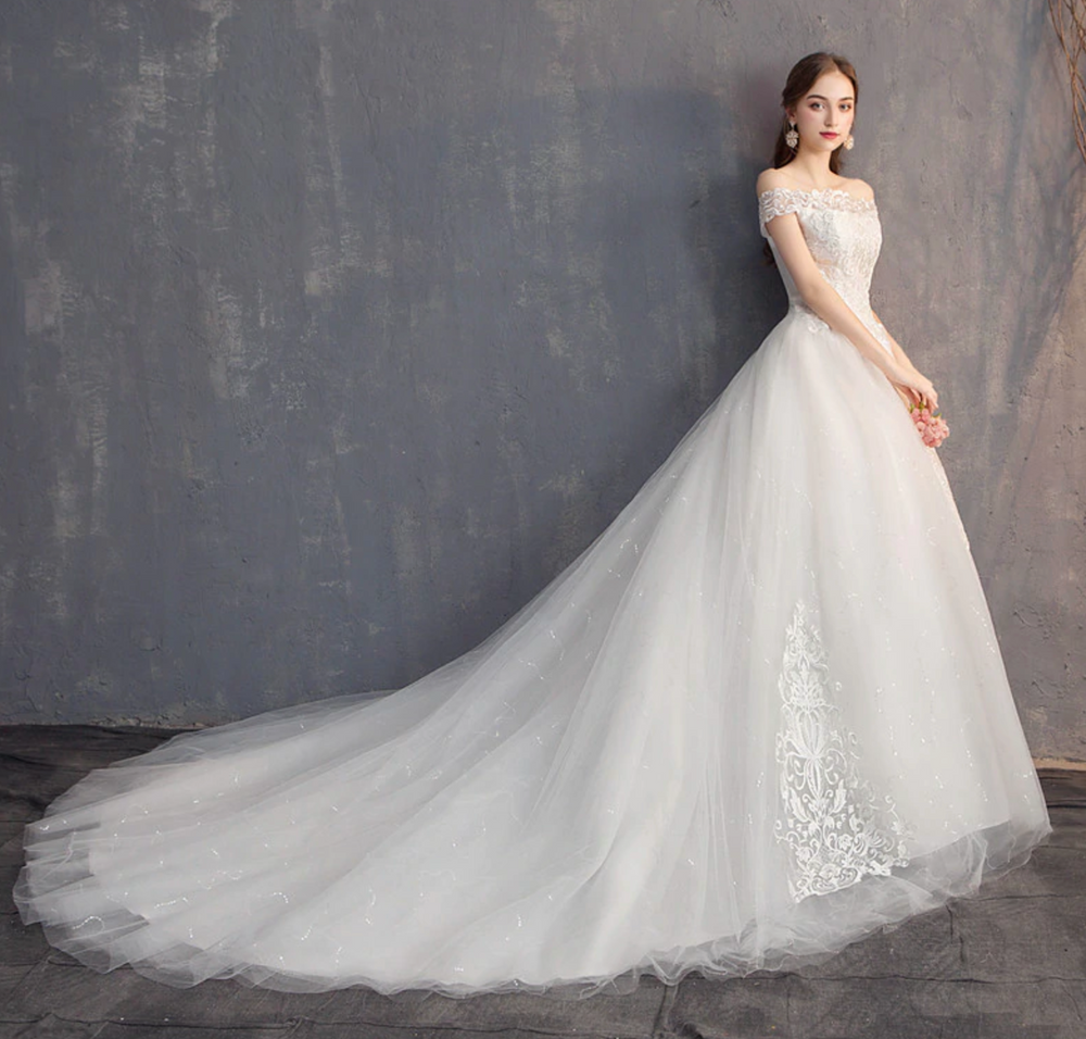 Lace Embroidery Off The Shoulder Wedding Gown, Plus Sizes Available