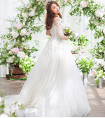 Three Quarter Lace Sleeve Bridal Wedding Dress, + Sizes Available - TulleLux Bridal Crowns &  Accessories