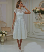Tea Length Wedding Dress with Cap Sleeves A Line Bow & Sash