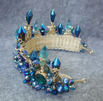 Blue Baroque Royal Crown Headpiece Retro Green Rhinestone Tiara Hairbands - TulleLux Bridal Crowns &  Accessories