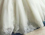 Crystal Flower Ball Gown Long Sleeve Lace Appliques Wedding Gown, Plus Sizes Available