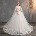 Princess Lace Wedding Gown With Long Train Embroidery, Plus Sizes Available
