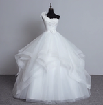 Luxury Beaded One Shoulder Tiered Organza Princess Wedding Dress, + Sizes Available
