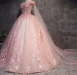 Quinceanera Dress Appliques Beading Floor-Length Pink Tulle Formal Dress