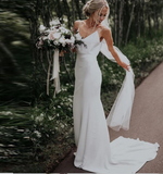 Sliming Satin V-Neck Beach Boho Wedding Dress