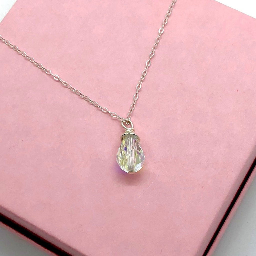 Clear Crystal Briolette Pendant Necklace