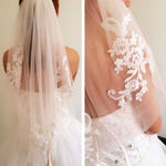 Short One Layer Waist Length Beaded Diamond Applique Bridal Veil