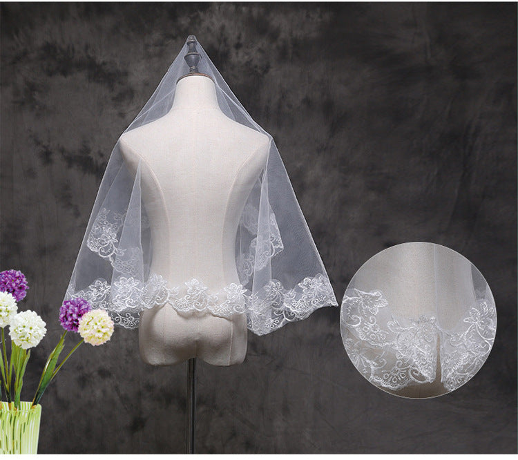 Fingertip Wedding Bridal Veil Lace Edge