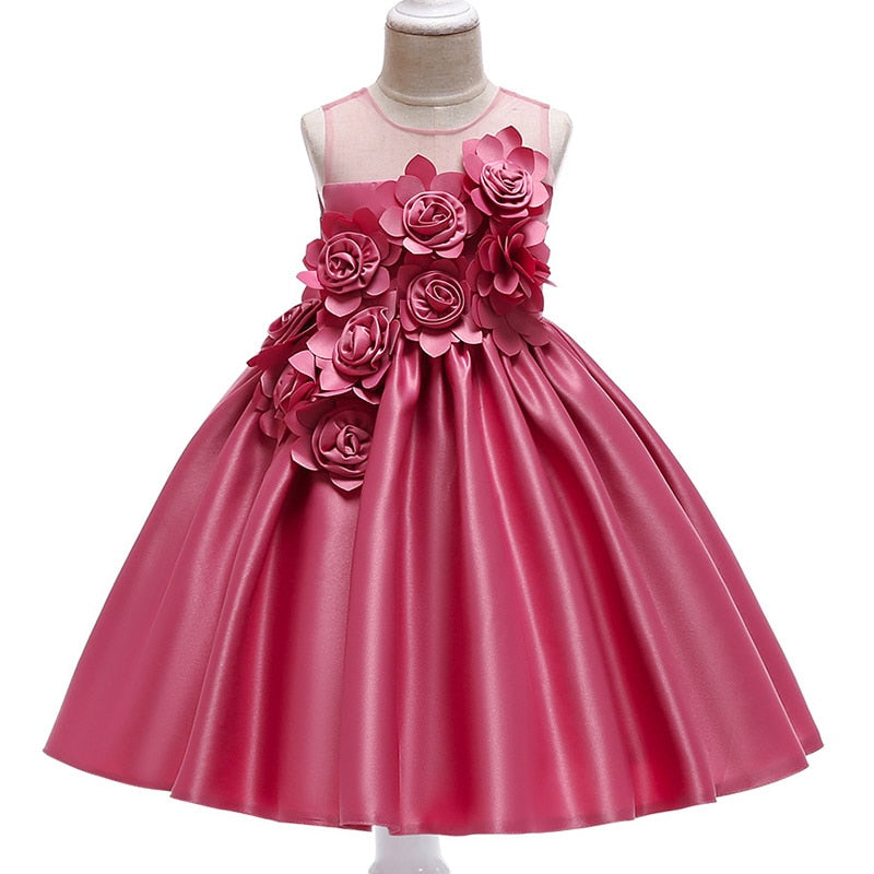 Girls Rose Petal Flower Girl Princess Party Dresses