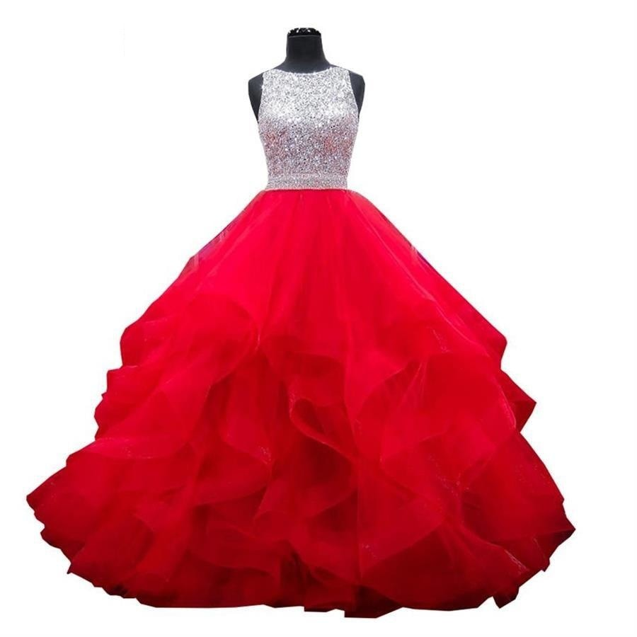 Crystals Quinceanera Dress Ball Gown Ruffled Sequin  Sweet 16 Dress