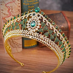 Large Baroque Vintage Royal Crystal Crown Gold Bridal Headband