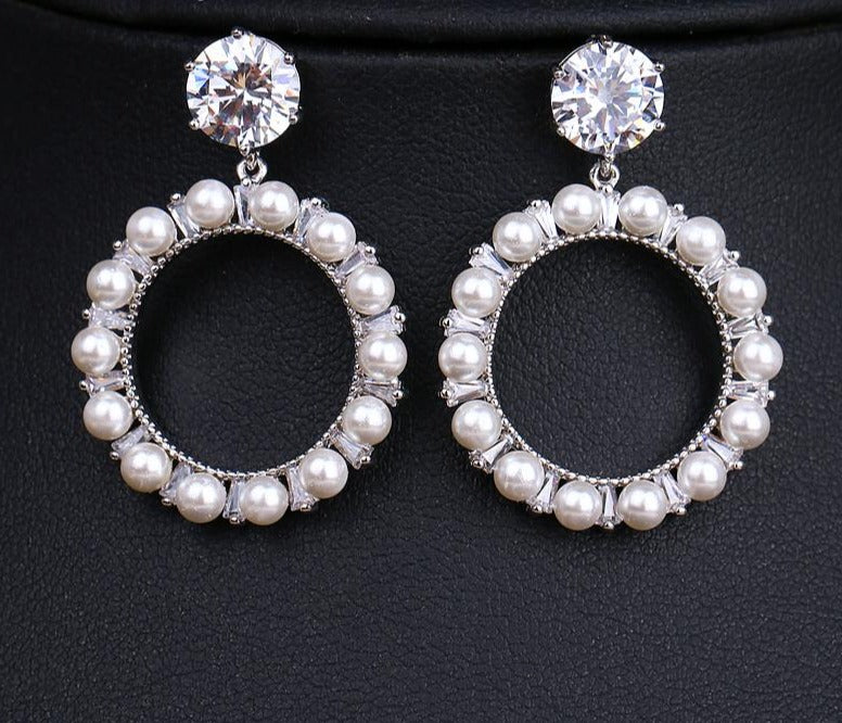 Round Cubic Zirconia Crystal & Pearl Bridal Earrings Wedding Jewelry