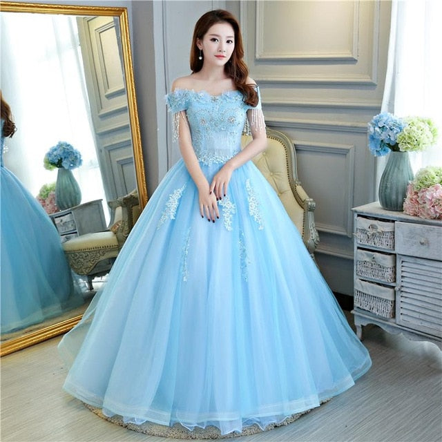Elegant Blue Off The Shoulder Lace Beading Party Prom Luxury Quinceanera Dress