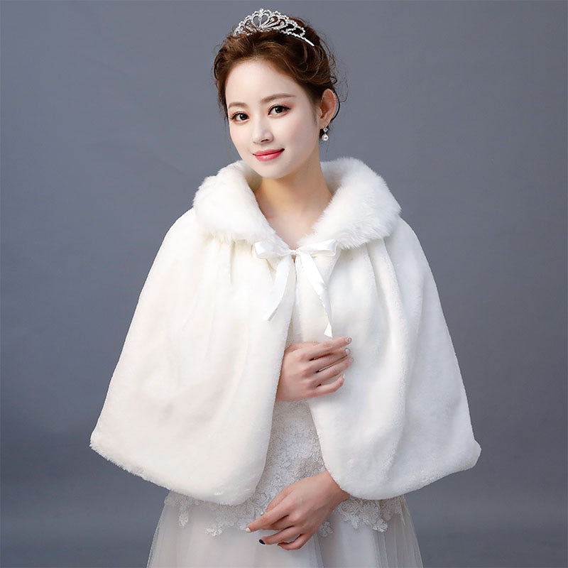 Winter Ivory Faux Fur Shawl Wrap Wedding Bridal Bridesmaid Wrap