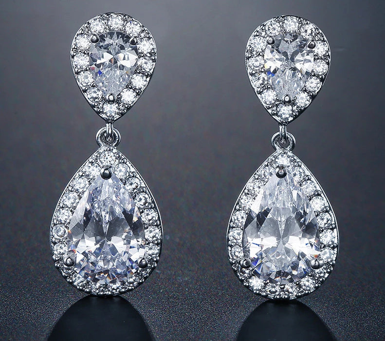 Classic Water Drop Crystal Zirconia Bridal Wedding Earrings