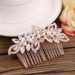 Rose Gold Bridal Crystal & Pearl  Hair Comb  Headpiece  Wedding Hair Jewelry