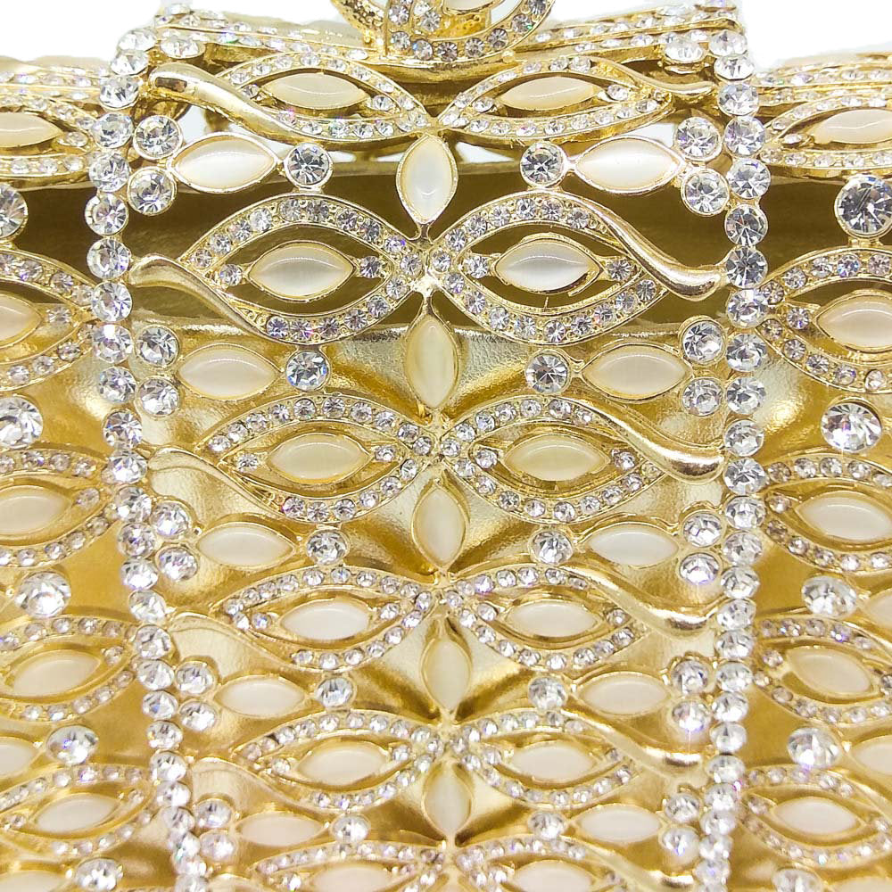 Dazzling Gold or Silver Crystal  Evening Bags Hollow Out Stones Beaded Wedding Clutch Bridal Diamond Minaudiere Purse