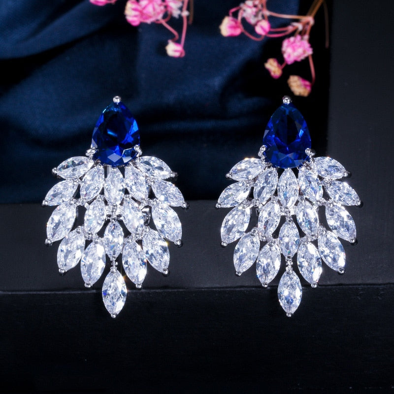 White Cubic Zirconia Paved Long Earrings