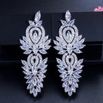 Luxury Large Long Cubic Zircons Vintage Wedding Party Earrings