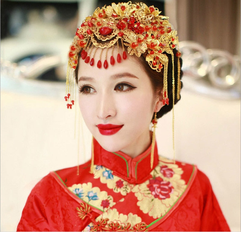 Vintage Chinese Style Classical Jewelry Traditional Bridal Headdress Wedding Hair Accessory