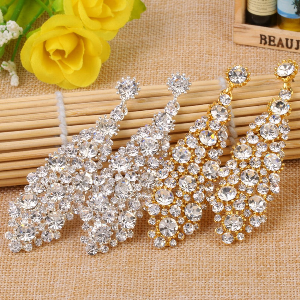 Crystal Long Drop Wedding Jewelry in Silver or Gold