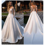 See Through Back Wedding  Bridal Dress  With Appliques & Lace