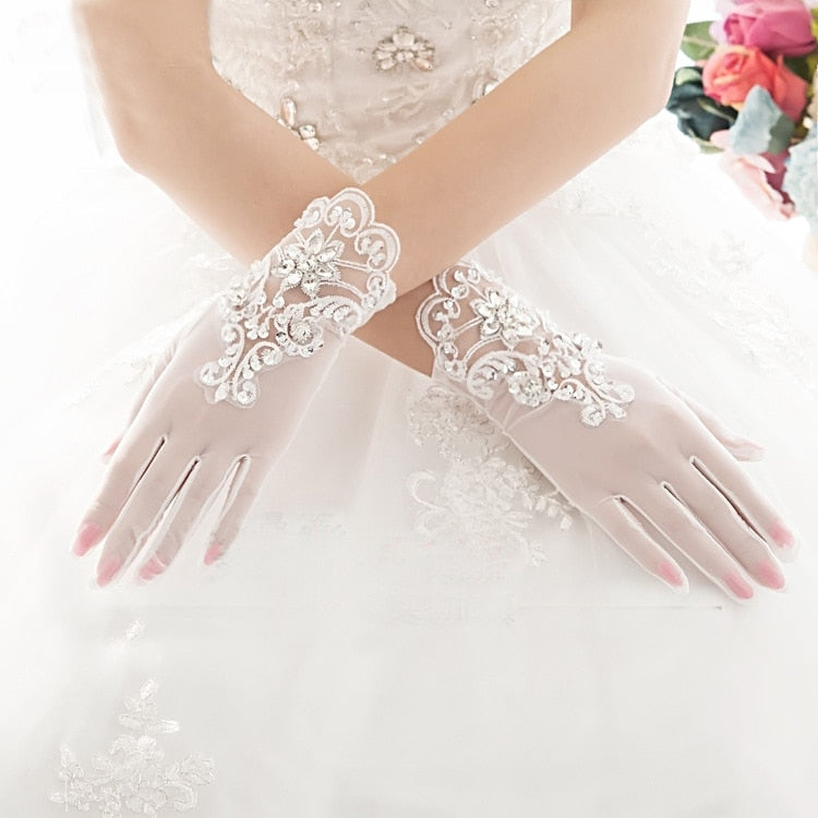Elegant  Short Crystal Bridal Gloves Lace Appliqued Beaded - TulleLux Bridal Crowns &  Accessories