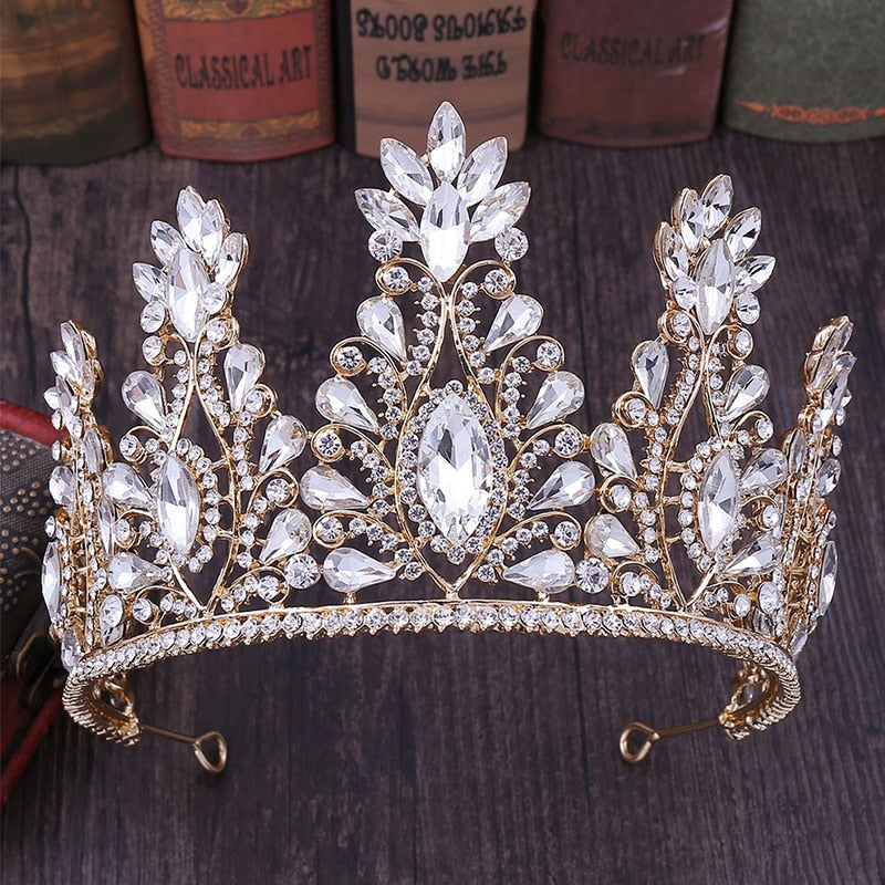 Luxury Princess  Bridal Wedding Hair Jewelry Crystal Teardrop  Crown Tiara in Multiple Colors