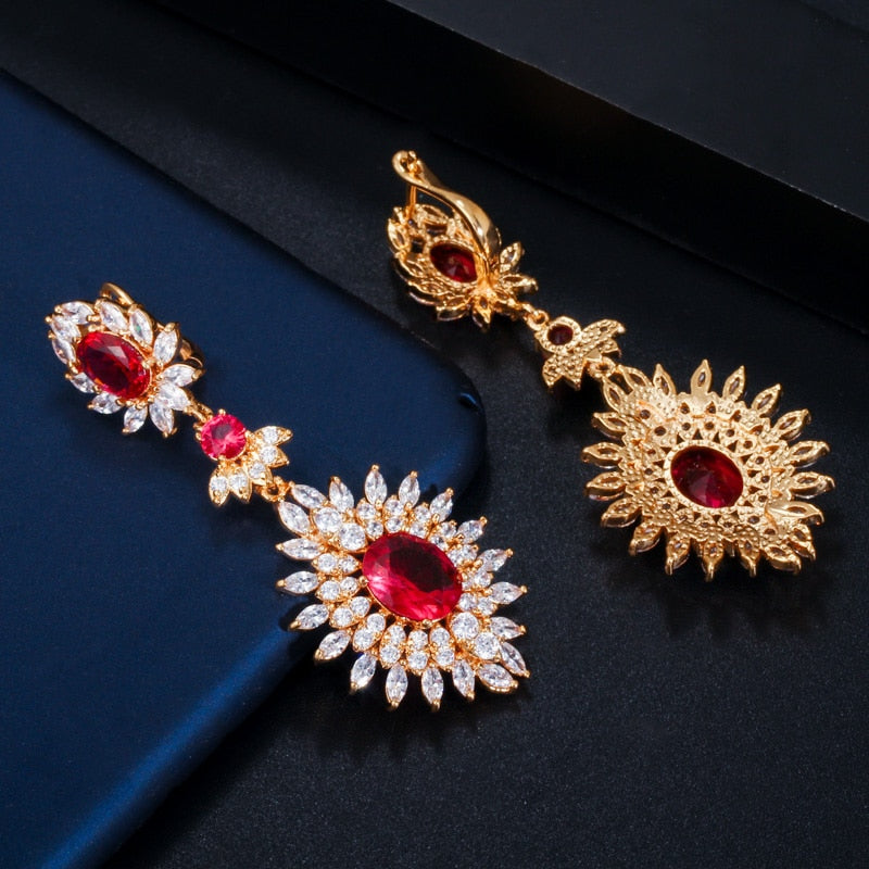 Gold Red Cubic Zirconia Vintage Long Drop Earrings - TulleLux Bridal Crowns &  Accessories