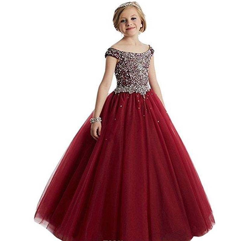 Formal Wear Elegant Beaded Sequined Flower Girl Pageant Birthday Party Ball Gown
