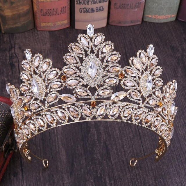 Vintage Baroque Tiara  Queen King  Pink Crystal Crown