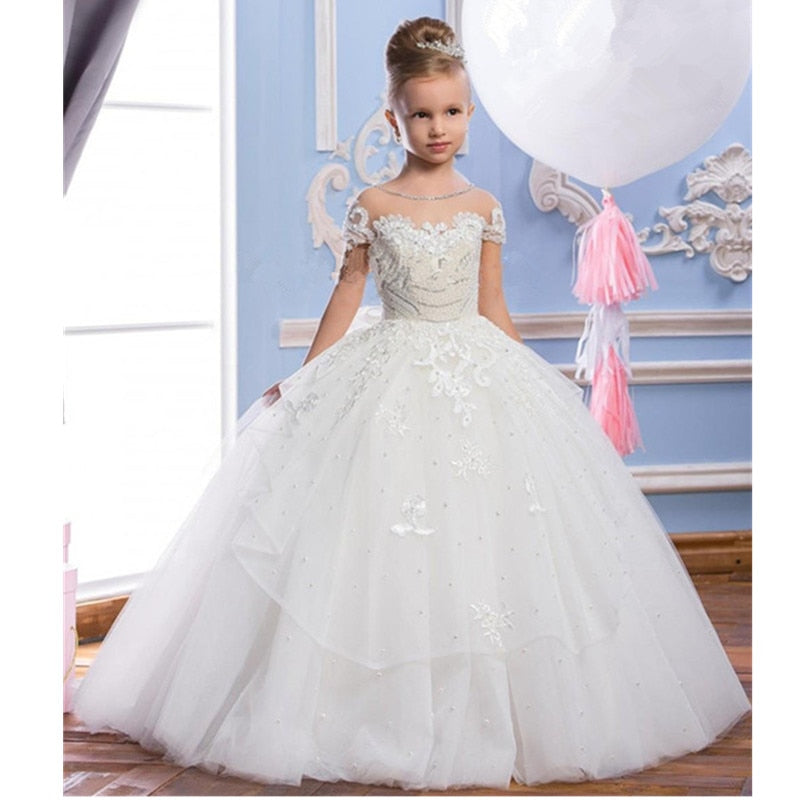 Luxury Off Shoulder Lace Sleeve Expansion Ruffle Flower Girls Pageant Tulle Ball Gown