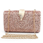 Metal Leaf Lock Designer Clutch Handbag for Wedding Bridal Party