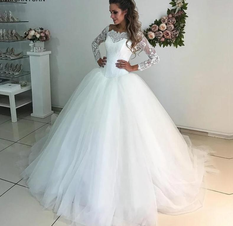 Long Sleeve Lace & Tulle Bridal Wedding Dress, + Sizes Available