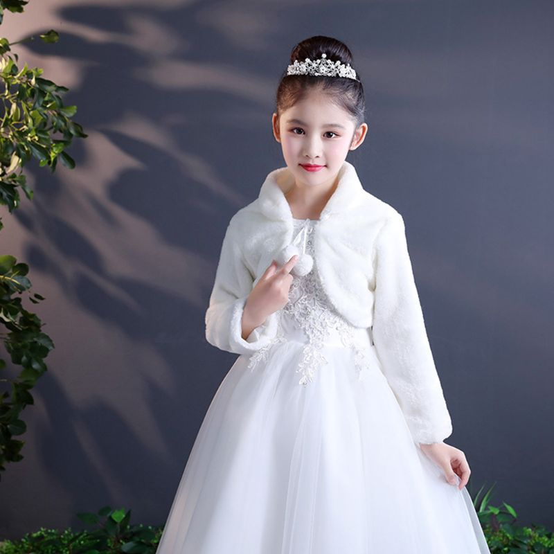Elegant Warm Faux Fur Shawl Wedding Flower Girl Wrap Plush Short Coat