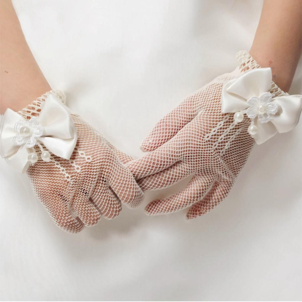 Children's Wedding Flower Girl Gloves Mesh Elastic Gloves