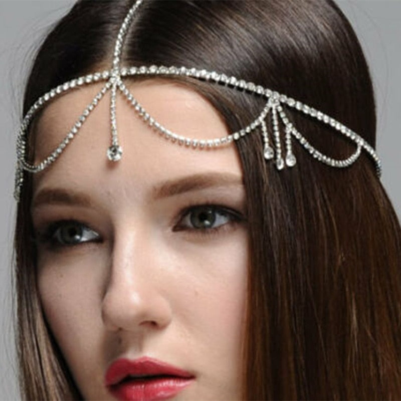 Boho Bridal Head Chain Jewelry Crystal Forehead Hair Wedding Accessory