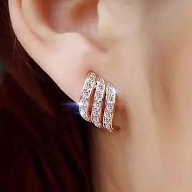 Simple Crystal Stud Earrings Wedding Fashion Jewelry