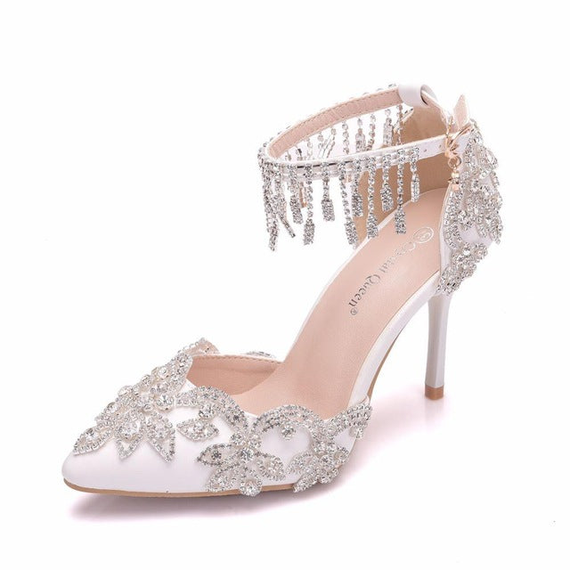 Crystal Queen White Crystal Shoes Tassel  Wedding Shoes Bride Shoes High Heels Pumps