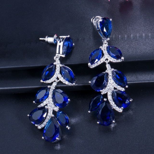 Royal Blue Crystal Long Leaf Dangle Earrings - TulleLux Bridal Crowns &  Accessories