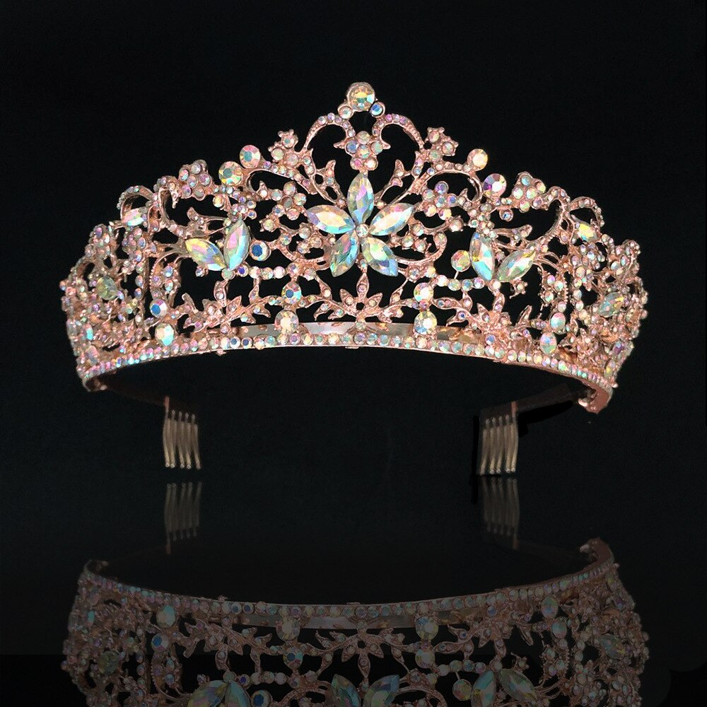 Luxury Crystal AB Bridal Crown Tiara Rose Gold Diadem Tiara - TulleLux Bridal Crowns &  Accessories