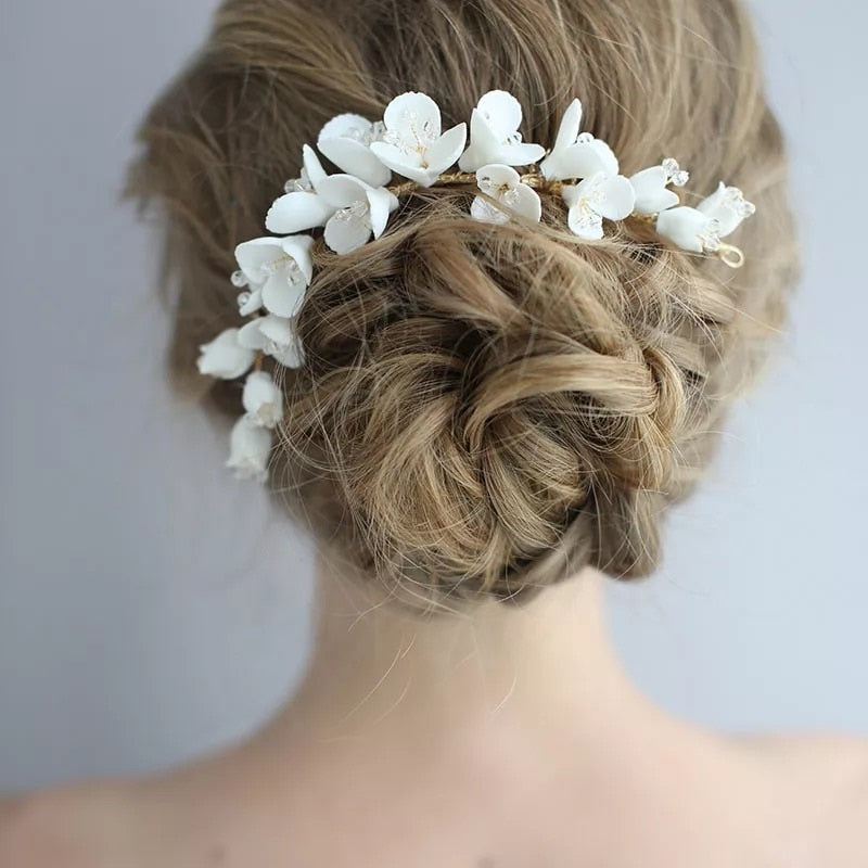 Porcelain Flower Bridal Long Hair Comb Handmade