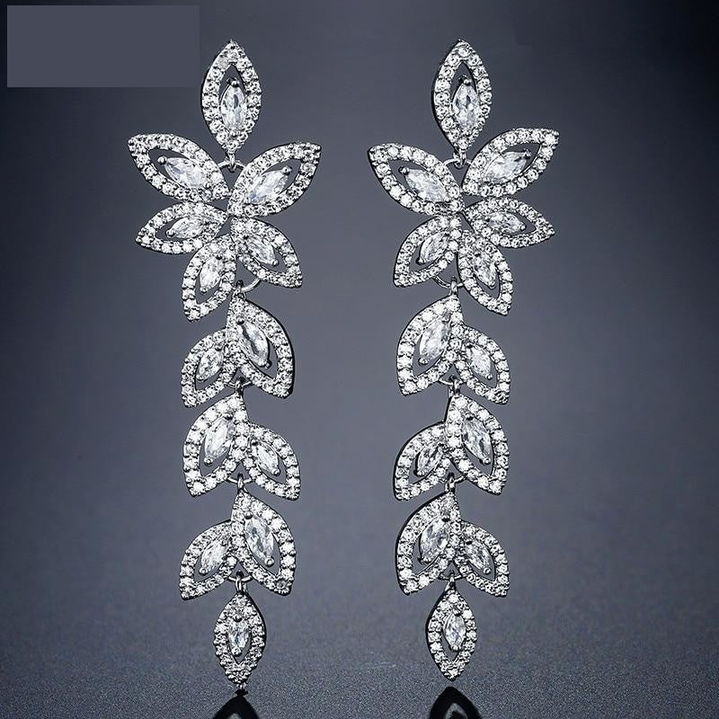 Vintage Cubic Zirconia Marquise Cut Leaves Bridal Jewelry Dangle Earrings