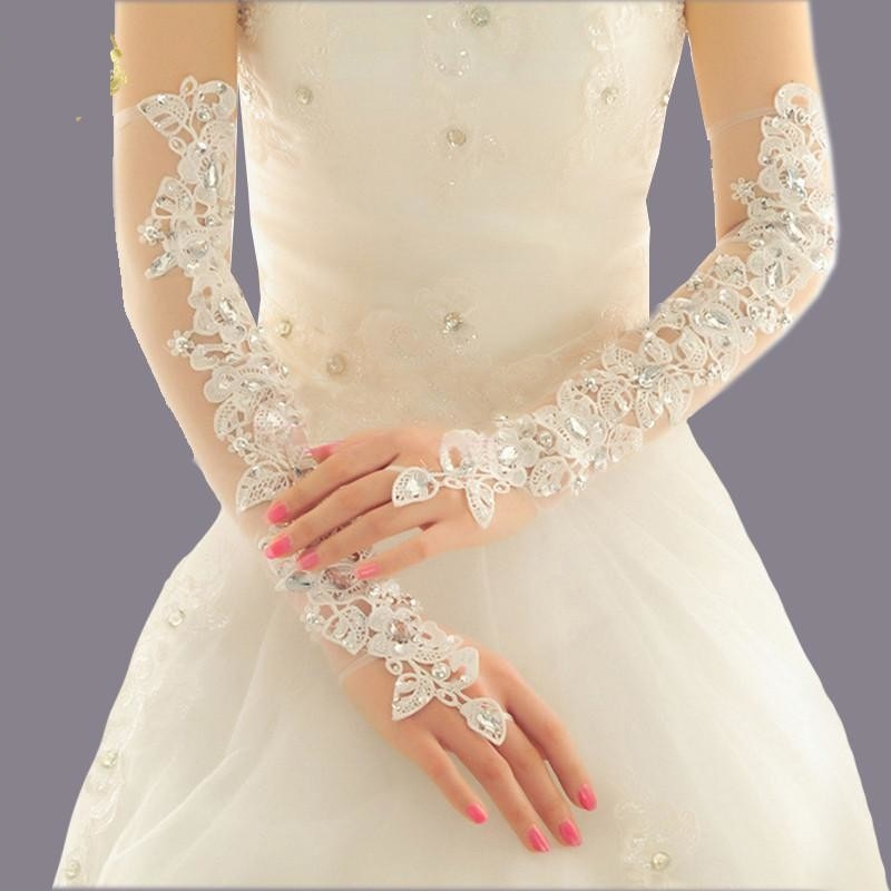 Long Opera Length Wedding Gloves  Fingerless Crystal Lace Bridal Gloves
