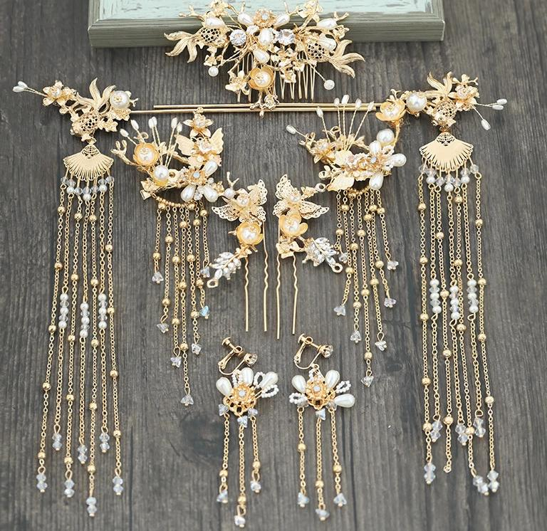 Luxury Chinese Bridal Headband Costume Gold Fan Hairpin Pearls Wedding Crown Long Tassel