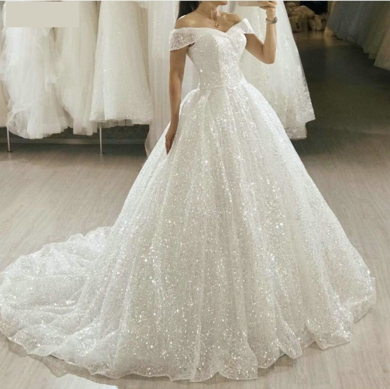 Glitter White Wedding Dress Sequin Bling Bridal Princess Ball Gown