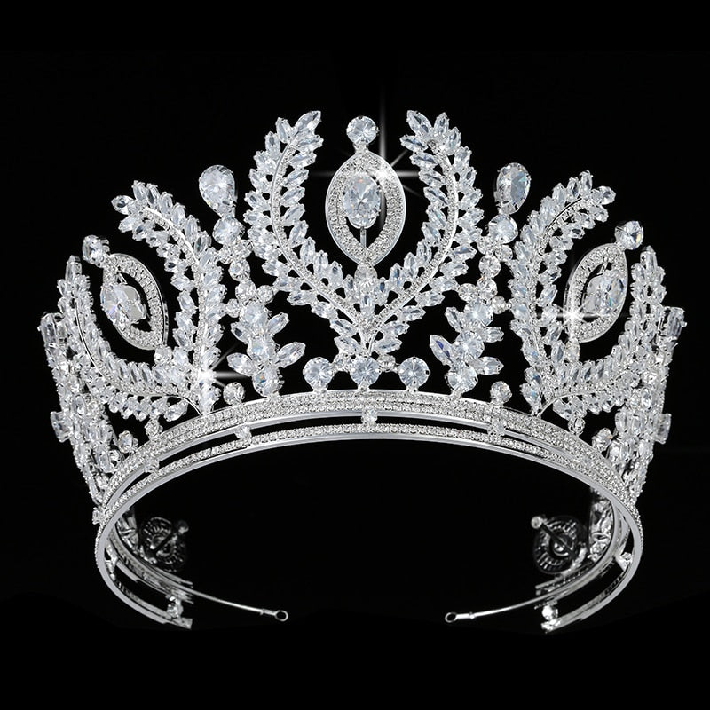 Luxurious Cubic Zirconia Crystal Crown Wedding Pageant Event Tiara - TulleLux Bridal Crowns &  Accessories