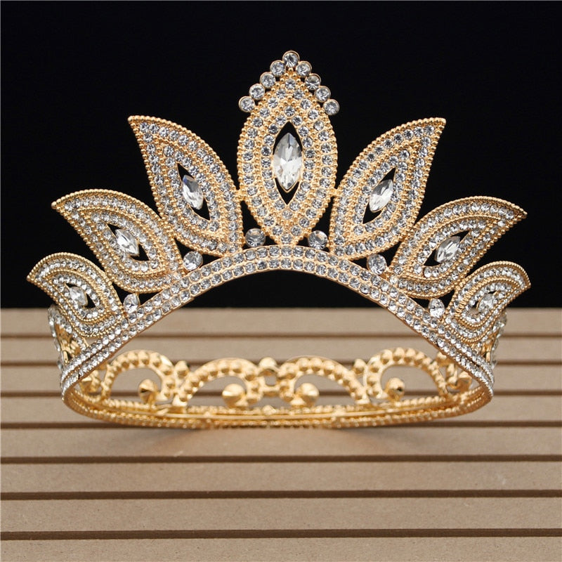 Royal Queen Fashion Crystal  Tiara  Crown Pageant Hair Jewelry Accessories